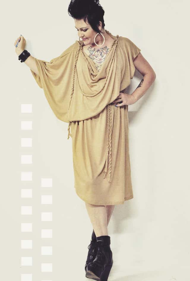 beige toga dress