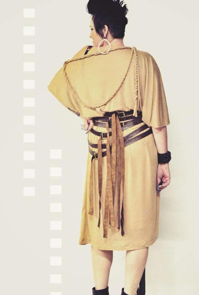 beige toga dress back