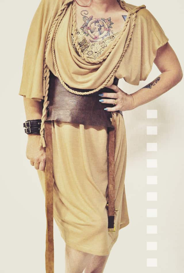 beige toga dress belted